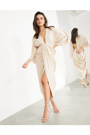 ASOS Plunge linen maxi dress with wrap skirt in stone-Neutral