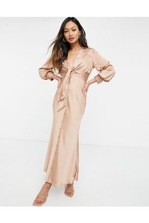 ASOS DESIGN Satin tie front midi dress with button detail in Bronze