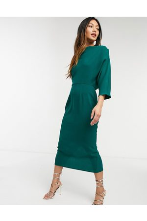 ASOS DESIGN Fallen shoulder midi pencil dress in forest