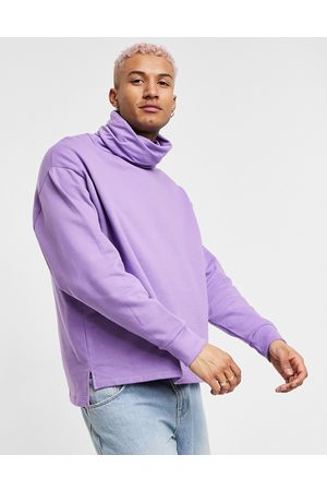 ASOS DESIGN Oversized sweatshirt with funnel neck and side splits in lilac
