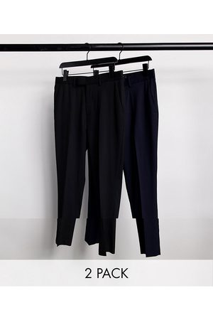 ASOS DESIGN 2 pack skinny trousers in black and navy SAVE