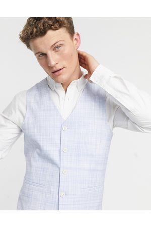 ASOS DESIGN Wedding skinny suit waistcoat in pastel blue crosshatch