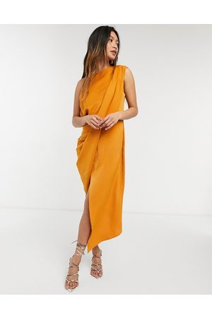 ASOS DESIGN Drape bodice midi dress in soft textured crepe