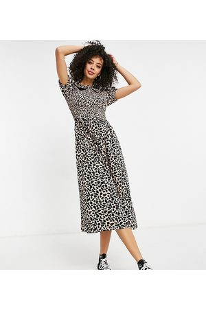 New Look Tall Collar detail smock midi dress in animal print