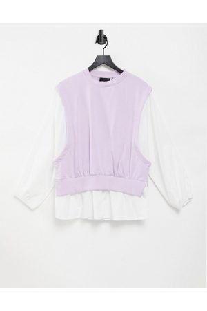 Pieces 2 in 1 shirt and knitted vest in lilac