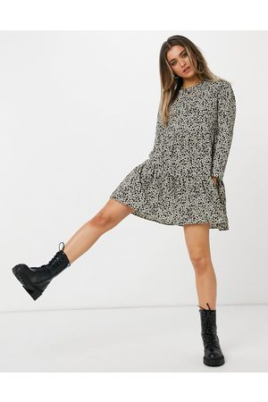 ASOS DESIGN Long sleeve tiered smock mini dress in animal print
