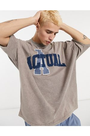 ASOS Actual Oversized washed t-shirt with towelling applique front print in neutral