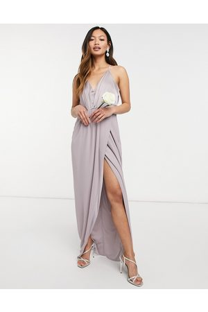 TFNC Bridesmaid satin halterneck top maxi dress in