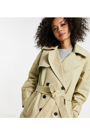 ASOS DESIGN Tall check spliced oversized trench coat in