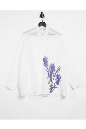 ASOS DESIGN Super oversized shirt in sheer with placement floral