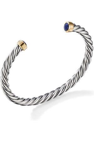 David Yurman Men Bracelets - Cable Classic Sterling , 18K Yellow Gold & Lapis Lazuli Cuff Bracelet