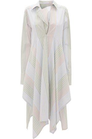 J.W.Anderson Women Asymmetrical Dresses - Stripe-pattern asymmetric shirtdress
