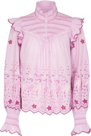 LOVESHACKFANCY Women Blouses - Kassie embroidered cotton blouse
