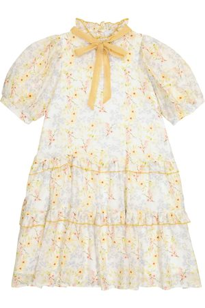 PAADE Girls Printed Dresses - Viola floral cotton and silk chiffon dress