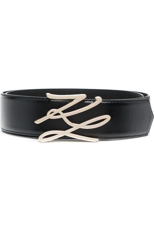 Karl Lagerfeld Women Belts - Logo-plaque leather belt