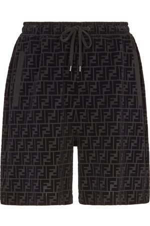Fendi Men Shorts - Flocked drawstring shorts
