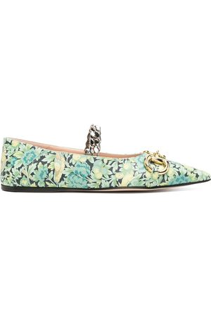 Gucci Floral Horsebit ballerina shoes