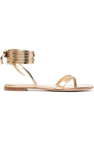 Gianvito Rossi Women Sandals - Metallic-effect lace-up sandals