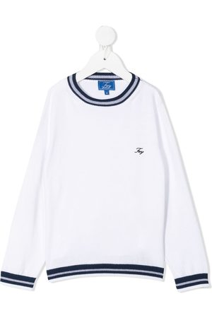 FAY KIDS Logo-embroidered cotton jumper