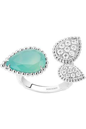 Boucheron Women Rings - 18kt white gold diamond aquaprase Serpent Bohème ring