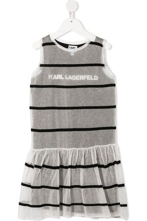 Karl Lagerfeld Striped jersey-knit layered dress