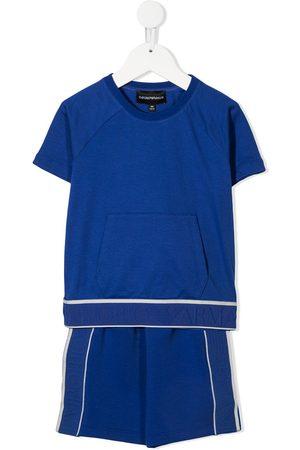 Emporio Armani Boys Short Sleeve - Logo tape cotton T-shirt shorts set
