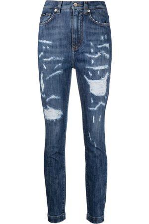Dolce & Gabbana Women High Waisted - Ripped high-waisted skinny jeans