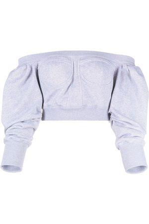 Serafini Cropped off-shoulder sweatshirt