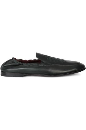 Dolce & Gabbana Logo-embroidered leather loafers