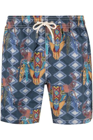 MC2 SAINT BARTH Men Swim Shorts - Aztec graphic-print swim shorts