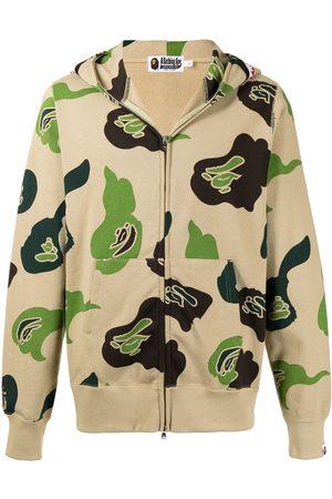 A Bathing Ape Men Sweatshirts - DEF Camo Shark-print cotton hoodie