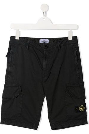 Stone Island Boys Shorts - Logo-patch cargo shorts
