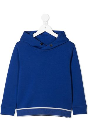 Emporio Armani Boys Hoodies - Logo embroidered hem hoodie