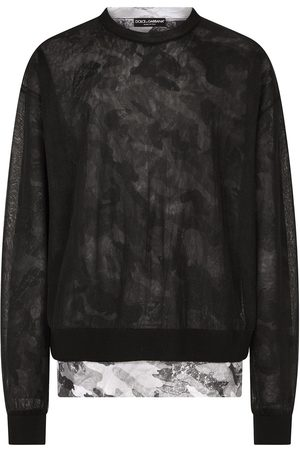 Dolce & Gabbana Men Jumpers - Double-construction round-neck pullover