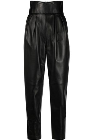 Philipp Plein Women Leather Pants - High-waisted leather trousers