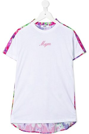 Msgm Girls Short Sleeve - Two-tone floral T-shirt