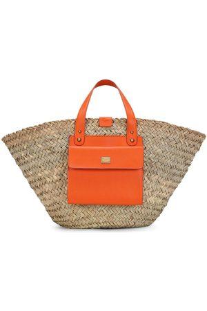 Dolce & Gabbana Women Handbags - Leather-trim straw tote
