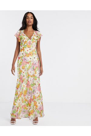 ASOS Women Printed Dresses - Soft bias maxi dress with ruffle in vintage floral print strawberry fields-Multi