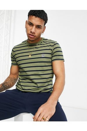 adidas Icon logo breton stripe t-shirt in deep lichen