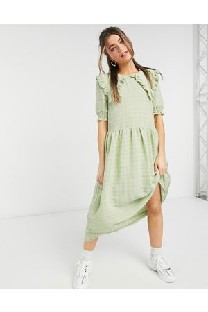 adidas Ofelia midi dress with collar detail in