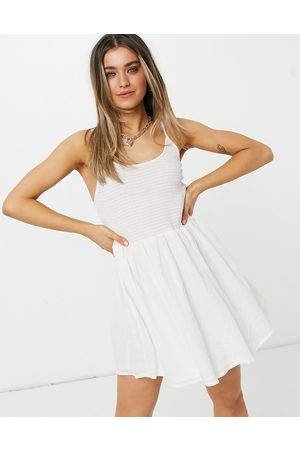 adidas Women Summer Dresses - Shirred mini skater sundress with scoop back in