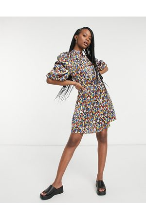 ASOS Satin high neck mini tea dress with shirred open back in bright floral-Multi