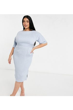 adidas Ribbed pencil midi dress with tie belt in powder