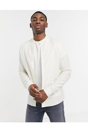 adidas Regular fit smart linen shirt with mandarin collar in ecru