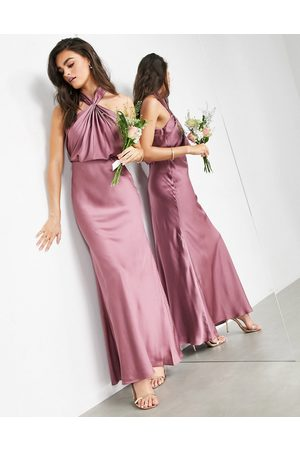 ASOS Satin ruched halter neck maxi dress in orchid