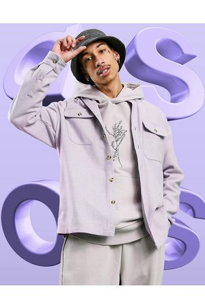 adidas 90s oversized wool mix shirt in lilac