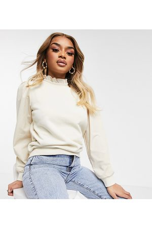 adidas High neck frill sweatshirt in cream