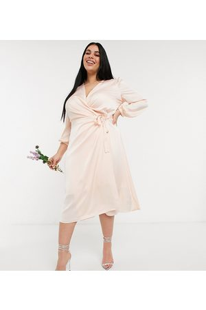 adidas Bridesmaid satin long sleeve wrap front midi dress in light blush-Cream