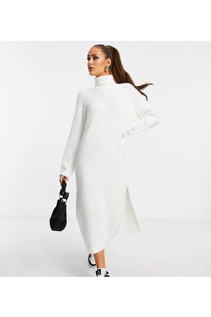 adidas Knitted roll neck midaxi dress in