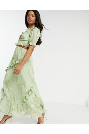 adidas Women Printed Dresses - Wrap front maxi dress with lace up back in metallic floral